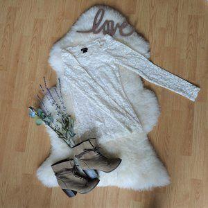 Longsleeve Sheer Lace Shirt, White